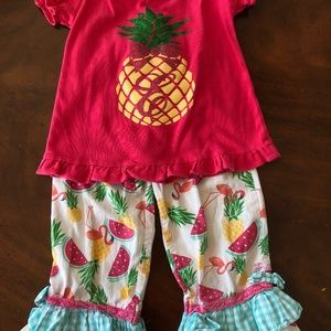 "Ruffle Butts 8 girls pineapple capri outfit ""E"""